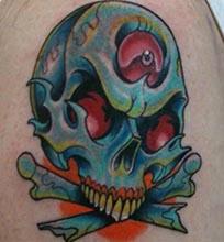 彩色的骷髅纹身图案