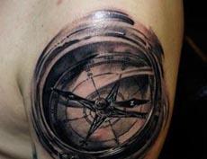罗盘指南针纹身图案
