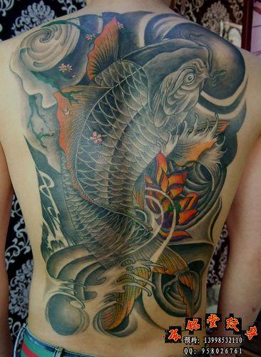 后背鲤鱼纹身-本店作品-大连纹身