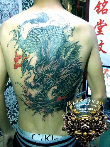 大连纹身后背麒麟纹身