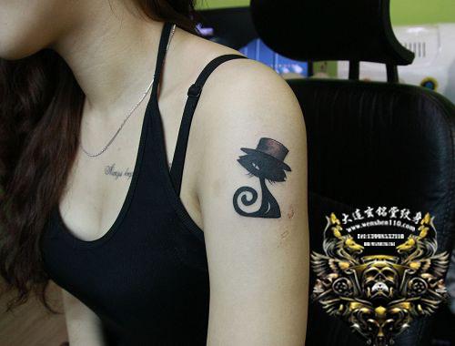 大连玄铭堂纹身 上臂可爱图腾小猫纹身